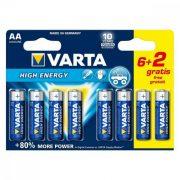 Alkáli Elem Varta LR6 AA 1,5V High Energy (8 pcs)