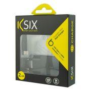 Fali töltő + USB A - USB C Kábel KSIX USB Fekete