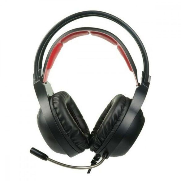 Fejhallgató Játék Mikrofonnal KSIX Drakkar USB LED Fekete Piros