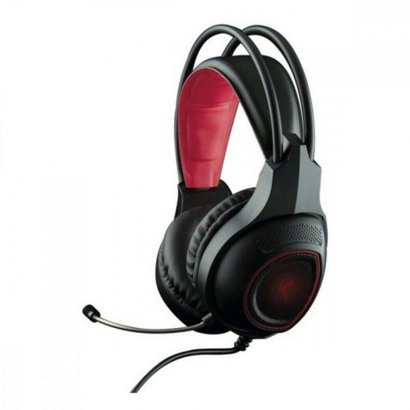 Fejhallgató Játék Mikrofonnal Drakkar USB LED Fekete Piros