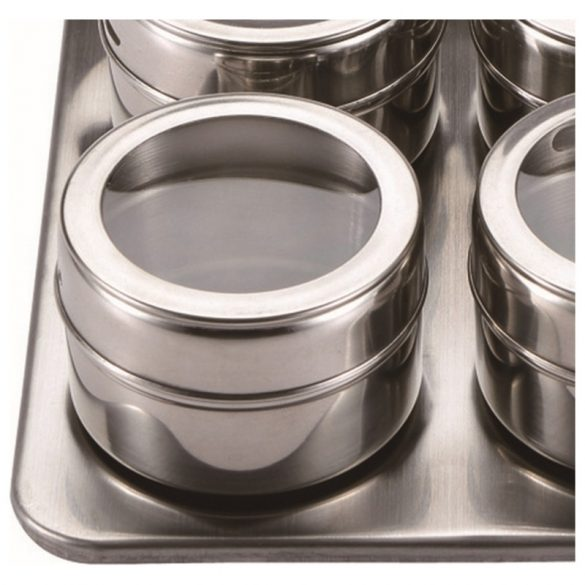 Mágneses fűszertartó készlet Masterpro Rozsdamentes acél Ezüst színű 23 x 23 x 5 cm (10 pcs)